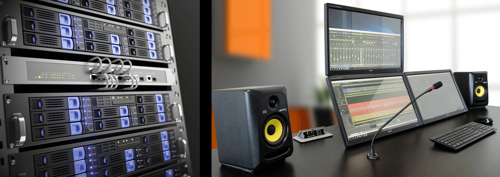 Telefon Tonstudio Serverrack im tonstudio